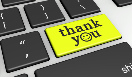 give thanks to: Thank you sign and word with happy emoticon symbol on a yellow computer key 3D illustration.