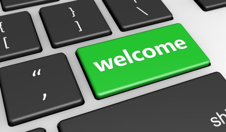 guests website: Welcoming website and blog concept with welcome sign and word on a green computer key 3D illustration.