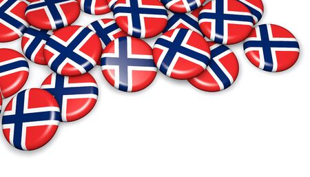 norwegian flag: Norway flag on pin badges 3d illustration image for national Norwegian day events, holiday, memorial and celebration. Stock Photo