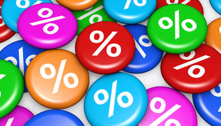 money button: Shopping sale, offer, discount and promo concept with colorful badges and percent symbol 3d illustration background.