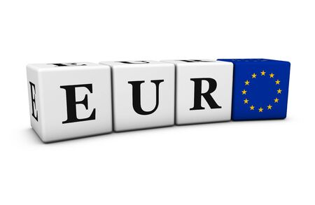financial market: Euro currency exchange market and financial trading concept with eur code sign and European Union flag on cubes 3D illustration on white background.