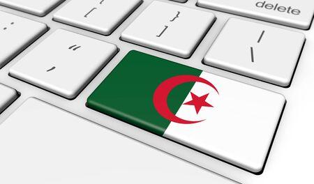 algerian flag: Algeria digitalization and networking concept with Algerian flag on a computer keyboard 3D illustration.