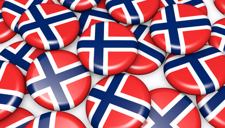 norwegian flag: Norway flag on pin badges 3d illustration background image for national Norwegian day events, holiday and celebration.