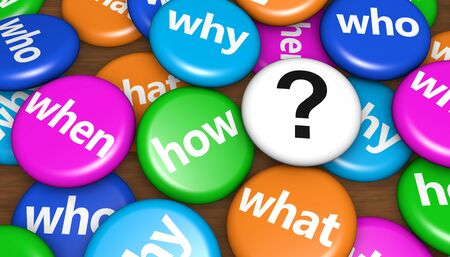 interrogation point: Customers questions concept with question words and question mark sign on colorful pin badges 3d illustration. Stock Photo