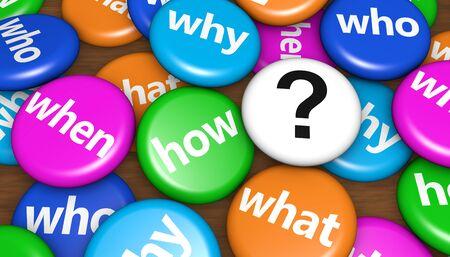 point d interrogation: Questions relatives aux clients concept avec des mots d'interrogation et signe un point d'interrogation sur les badges colorés broches 3d illustration.