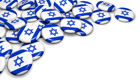 national holiday: Israel flag on pin badges 3d illustration image for national Israeli day events, holiday, memorial and celebration with copyspace.