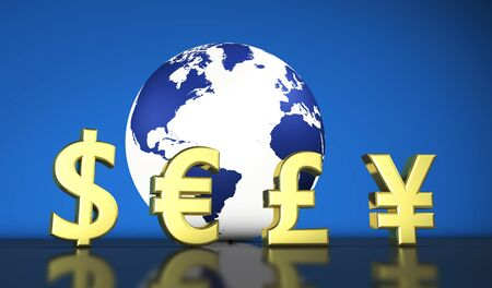 economical: Global world economy concept with money currency symbols and a globe with the world map 3D illustration. Stock Photo