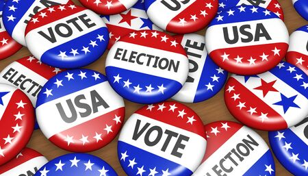 presidential: US presidential election in USA vote concept with sign on campaign badges banner background 3D illustration.