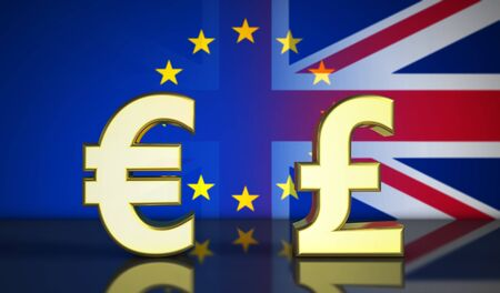 referendum: Brexit British referendum financial concept with EU and UK flag and money symbol 3D illustration.