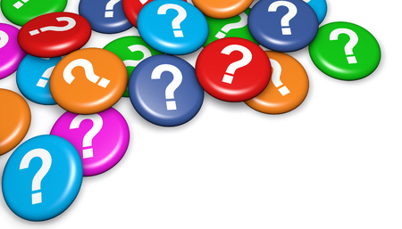 Question mark symbol and icon on colorful badges business customer questions concept 3d illustration on white background.