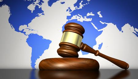 sistema internacional de derecho, la justicia, los derechos humanos y el concepto de negocio global con un martillo y un mapa del mundo en el fondo ilustración 3D. Foto de archivo
