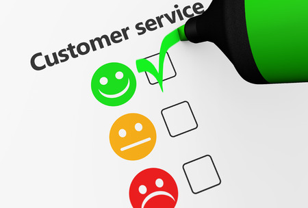 Customer service happy feedback rating checklist and business quality evaluation concept 3D illustration. Stock Photo