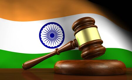 law and order: India laws, legal system and justice concept with a 3D rendering of a gavel and the Indian flag on background. Stock Photo