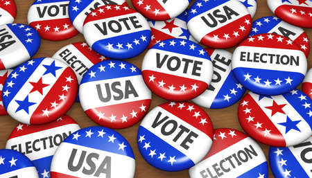 election: US presidential election in USA vote concept with sign on campaign badges banner background 3D illustration.