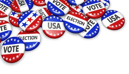 united states: US presidential election in USA vote concept with sign on campaign badges with copyspace 3D illustration. Stock Photo