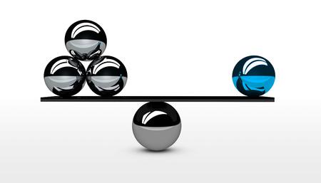 Bilanciamento qualità aziendale contro equilibrio quantità concettuale grafica per le imprese e il concetto di marketing 3D illustrazione. Archivio Fotografico