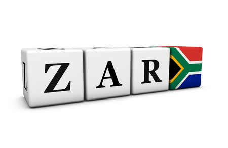 south african flag: South Africa rand currency exchange market and financial concept with zar code sign and the South African flag on cubes 3D illustration on white background. Stock Photo