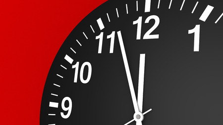 12 oclock: Time concept with a close-up face view of a black and white wall clock with clean design showing almost midnight hour 3D illustration.