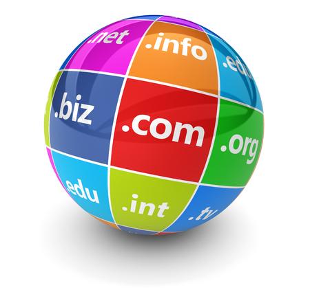 Hosting di siti Web e nomi di dominio Internet concetto web con domini segno e parola su un'illustrazione 3D globo colorato su bianco. Archivio Fotografico