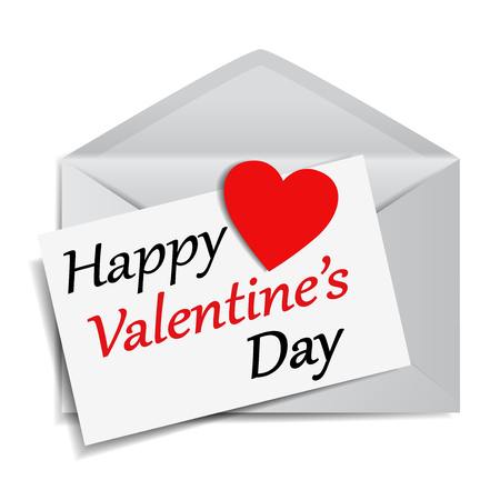 Happy Valentine's Day message and text on note paper with a red heart shaped paper on a mail envelope EPS 10 vector illustration on white background.