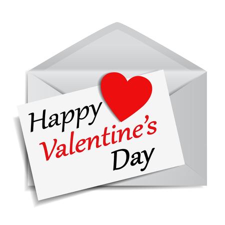 Mensaje de feliz día de San Valentín y texto en papel de nota con un papel rojo en forma de corazón en un sobre de correo EPS 10 ilustración vectorial sobre fondo blanco.