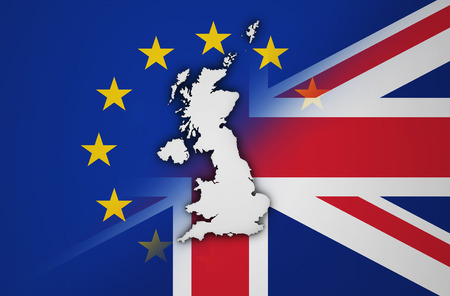 Brexit British referendum concept with UK map and shape on EU and Union Jack flag 3D illustration. Stock Photo