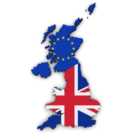 Brexit British referendum concept with Union Jack and EU flag on UK map and shape 3D illustration on white background.