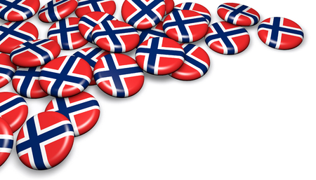 Norway flag on pin badges 3d illustration image for national Norwegian day events, holiday and celebration with copyspace.