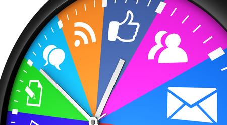 printed media: Social network time management and web strategy concept with a clock and social media icon printed in multiple colors 3D illustration.