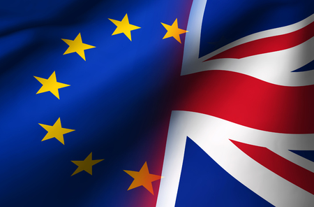 Brexit British referendum UK background concept with Union Jack fading with European Union flag 3D illustration.