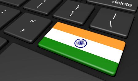 india 3d: India digitalization, networking and use of digital technologies concept with the Indian flag on a computer key 3D illustration.