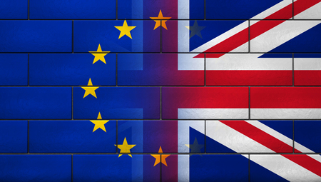 Brexit British referendum UK background concept with Union Jack fading with European Union flag on a brick wall 3D illustration.