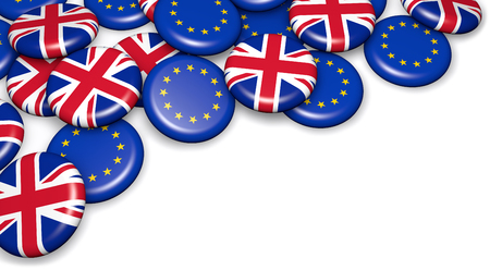 Brexit British referendum concept with UK and EU flag on campain pin badges 3D illustration on white background. Stok Fotoğraf