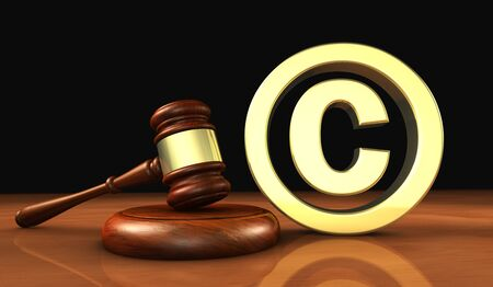 copyright symbol: Copyright and digital copyright laws and intellectual property concept 3D illustration with symbol and icon on black background.