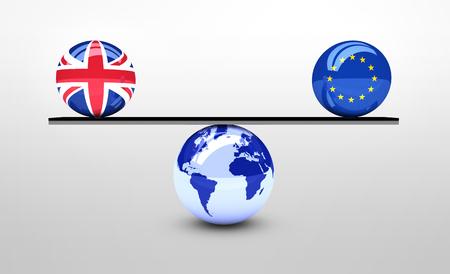 Brexit British referendum concept with UK and EU flag balls balancing on world map ball 3D illustration.