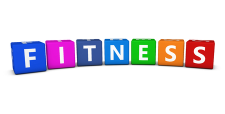 Fitness sign and word on colorful cubes 3D illustration on white.