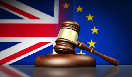 Brexit British referendum and new European Union laws and regulations concept with UK and EU flag and a gavel 3D illustration.