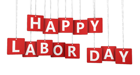 Happy labor day US national holiday concept with sign and letters on red paper tags isolated on white background 3D illustration.