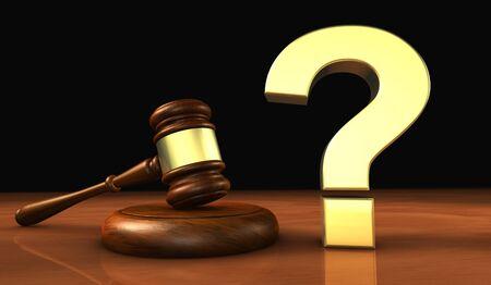 Las leyes y las cuestiones legales ilustración del concepto 3d con un signo de interrogación de oro y un juez martillo de madera.