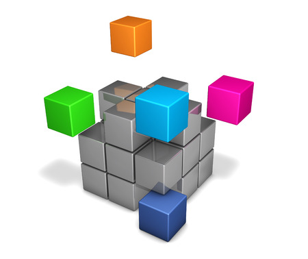 Teamwork and business project collaboration concept with colorful cubes 3D illustration on white.