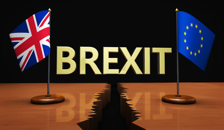 Brexit concept with sign and Union Jack and EU flag separated on a broken desk 3D illustration. Stok Fotoğraf