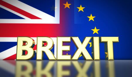 transition: Brexit British referendum UK concept with golded sign and Union Jack and EU flag with transition effect on background 3D illustration.