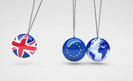 global crisis: Brexit effect and global business consequences concept with Union Jack, EU flag on balls and world map globe 3D illustration.