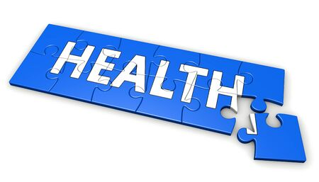 developing: Healthy lifestyle developing concept with health sign and word on a blue puzzle 3D illustration.