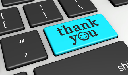 thank you sign: Thank you sign and word with happy emoticon symbol on a cyan computer key 3D illustration. Stock Photo