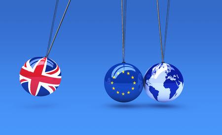 Brexit wereldwijde business gevolgen concept met Union Jack, de vlag van de EU over de ballen en de wereld kaart bol 3D-afbeelding. Stockfoto