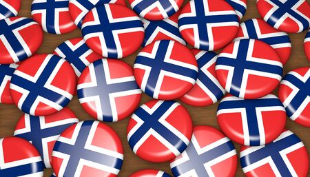 oslo: Norway flag on pin badges 3d illustration background for national Norwegian day events, holiday and celebration. Stock Photo