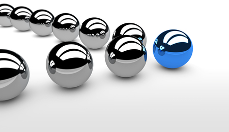 business leader: Business team leadership concept with a blue leader sphere and silver followers 3D illustration.