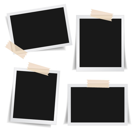 Collection of blank photo frames with adhesive tape, different shadow effects and empty space for your photograph and picture. EPS 10 vector illustration isolated on white background. Vettoriali
