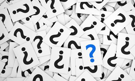 point d interrogation: Question signe de la marque, le symbole et l'icône sur de nombreux papiers épars illustration 3D.